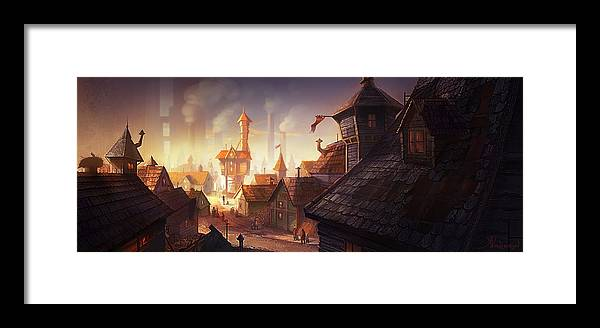 Steampunk Framed Print featuring the digital art The City by Kristina Vardazaryan