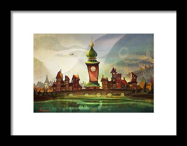 Clock Tower Framed Print featuring the painting The Clock Tower by Kristina Vardazaryan