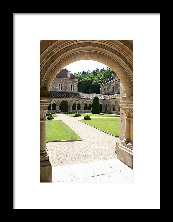 Cloister Framed Print featuring the photograph The Cloister Courtyard - Cloister Fontenay by Christiane Schulze Art And Photography