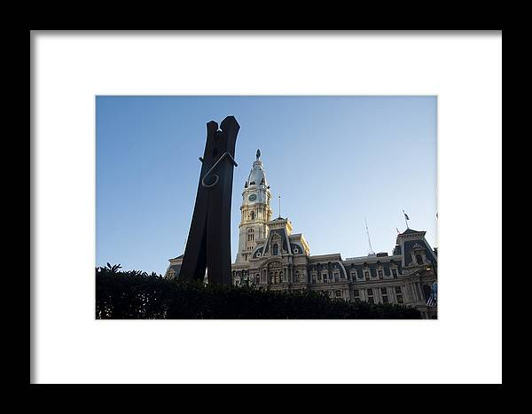 Clothes Framed Print featuring the photograph The Clothes Pin Statue And City Hall - Philadelphia by Bill Cannon