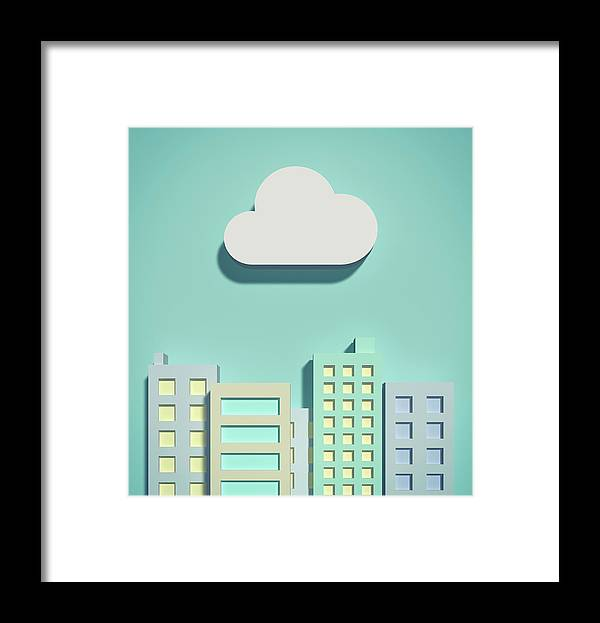 White Background Framed Print featuring the digital art The Cloud Network And Office Buildings by Yagi Studio