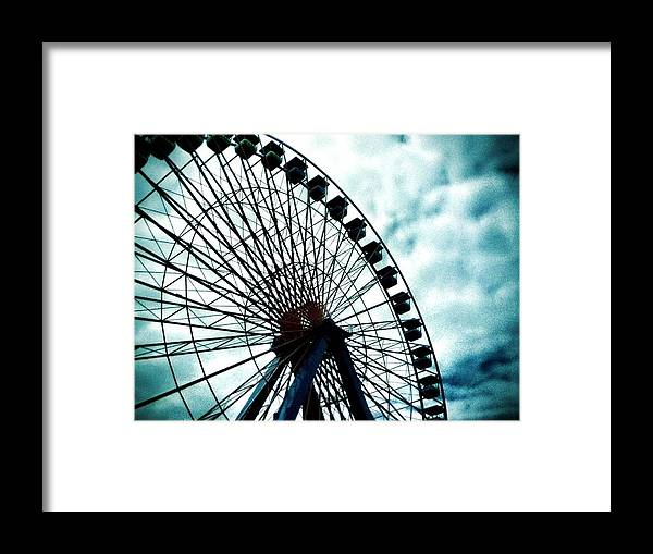 Ferris Wheel Framed Print featuring the photograph The Cloudy Wheel by Lucas Scott