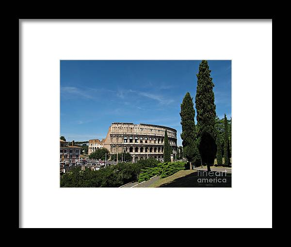 Rome Framed Print featuring the photograph The Colosseum in Rome by Kiril Stanchev