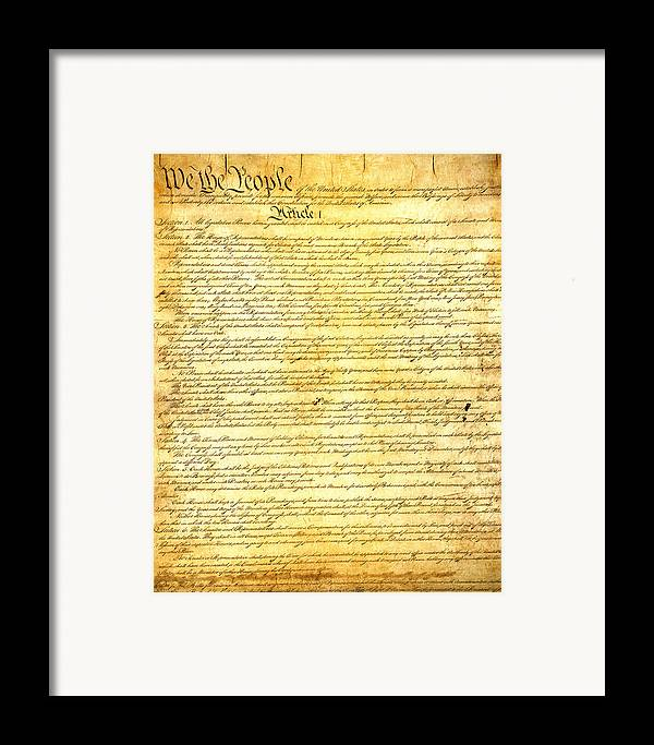 Constitution Framed Print featuring the mixed media The Constitution Of The United States Of America by Design Turnpike