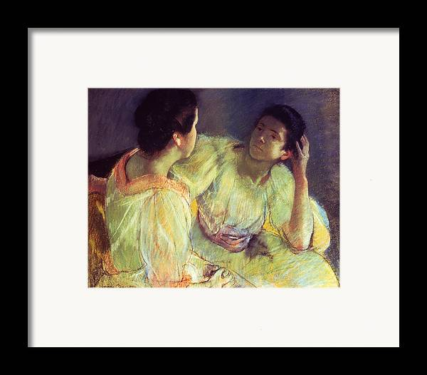 Belle Epoque; Female; Females; Friends; Listening; Friendship; Seated; Head In Hand; Impressionist; Advice; Care; Chatting; Confidante; Gossip; Discussion; Talking; Conversation Framed Print featuring the pastel The Conversation by Mary Stevenson Cassatt