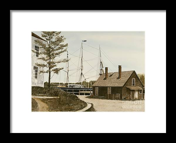 Mystic Seaport Is A Re-created Village Directed Toward Ships And Boats As Well As The Assorted Businesses And Services They Offered. Framed Print featuring the painting The Cooperage by Monte Toon