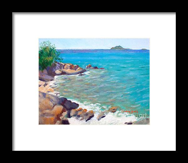 Honey Moon Beach Framed Print featuring the painting The Cottage View by Candace Lovely