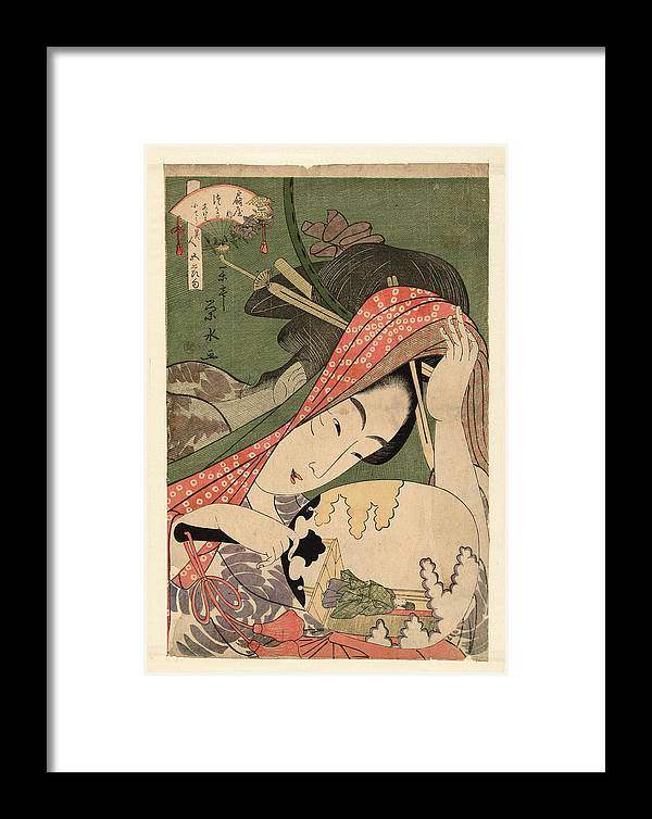 Ichirakutei Eisui Framed Print featuring the painting The Courtesan Tsukasa From The Ogiya House Tanabata. Star Festival by Ichirakutei Eisui