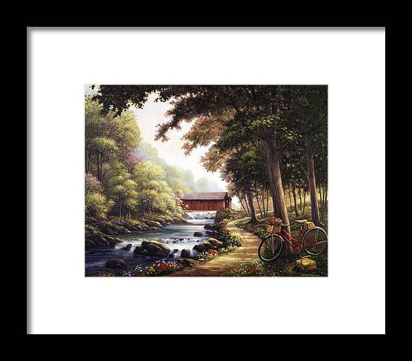 John Framed Print featuring the painting The Covered Bridge by John Zaccheo
