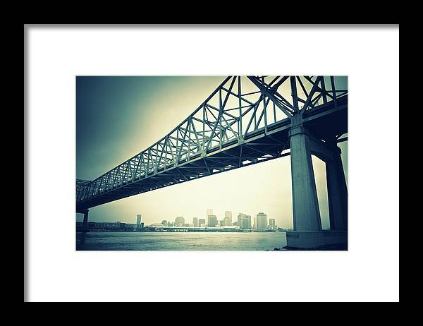 Desaturated Framed Print featuring the photograph The Crescent City Connection In New by Moreiso