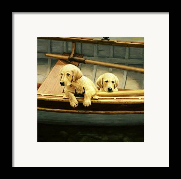 Retriever Puppies Framed Print featuring the painting The Crew by Ronald Bayens