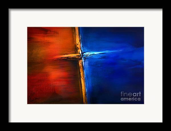 The Cross Framed Print featuring the mixed media The Cross by Shevon Johnson