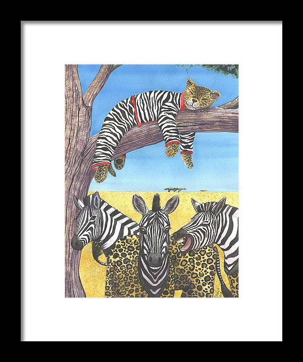 Zebra Framed Print featuring the painting The Crossdressers by Catherine G McElroy