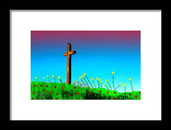 Cross Framed Print featuring the painting The Crossn The Field by Bruce Nutting