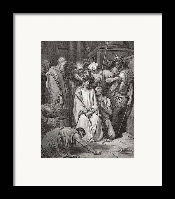 Jesus Christ Framed Print featuring the painting The Crown Of Thorns by Gustave Dore