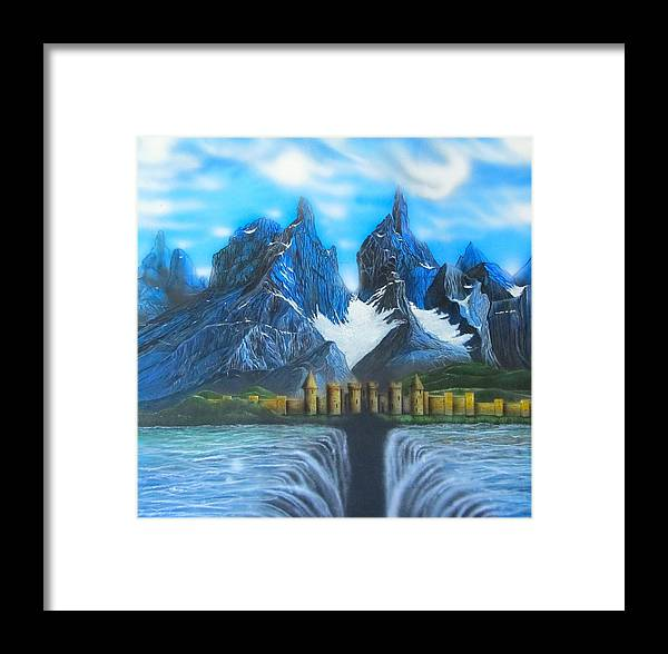 Landscapes Framed Print featuring the painting The Day The Bottom Fell Out by Sam Del Russi