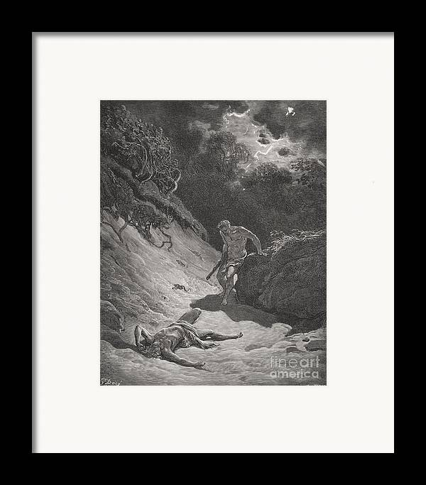 Cain Framed Print featuring the painting The Death Of Abel by Gustave Dore