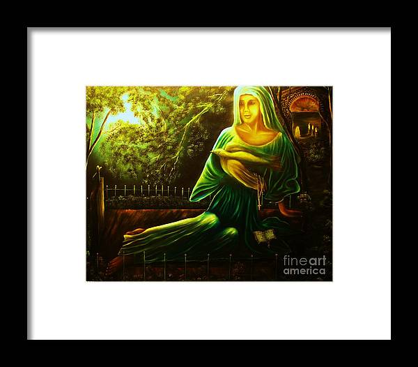 Landscape Framed Print featuring the painting The Death Of Ruth- Private Art Collection-buy Giclee Print Nr 33 Of Limited Edition Of 40 Prints by Eddie Michael Beck