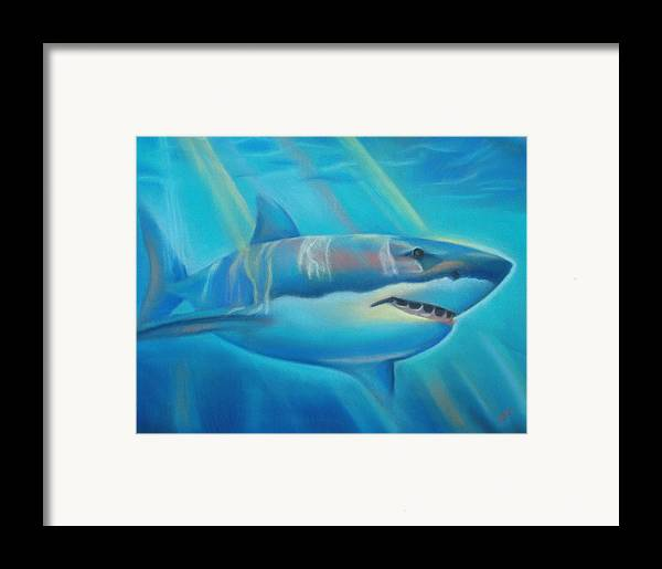 Shark Framed Print featuring the pastel The Deep by Joanna Gates