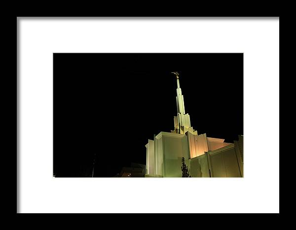 Lds Framed Print featuring the photograph The Denver Temple At Night 1 by Cynthia Cox Cottam