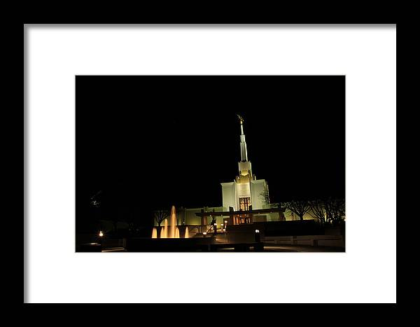 Lds Framed Print featuring the photograph The Denver Temple At Night 3 by Cynthia Cox Cottam