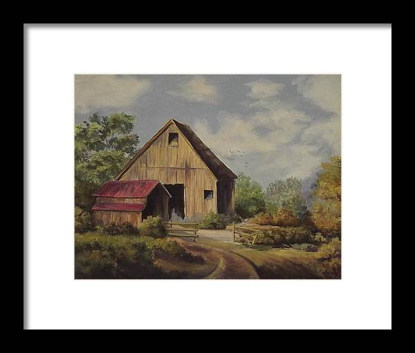 Landscape Framed Print featuring the painting The Deserted Barn by Wanda Dansereau