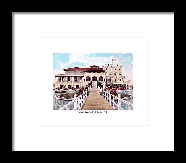 Detroit Framed Print featuring the digital art The Detroit Boat Club - Belle Isle - 1910 by John Madison