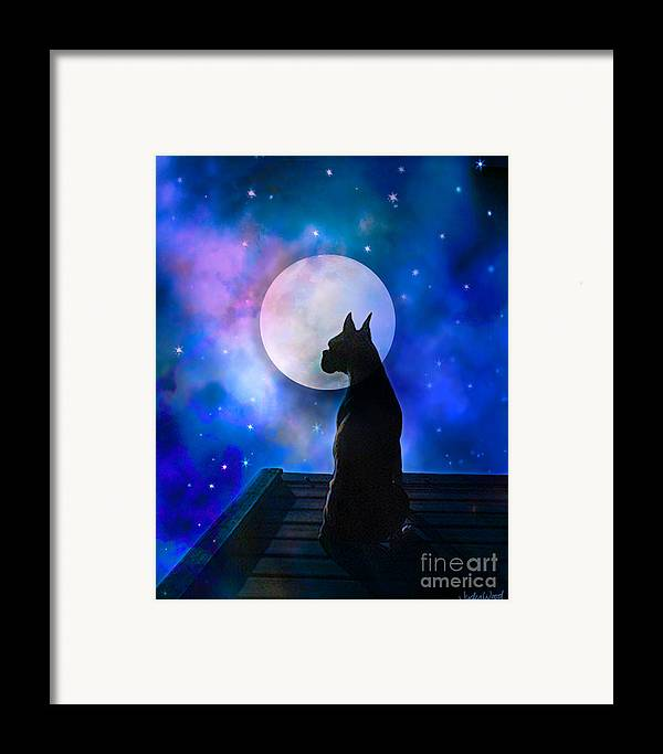 Dog Framed Print featuring the digital art The Dock At The Edge Of The Universe by Judy Wood