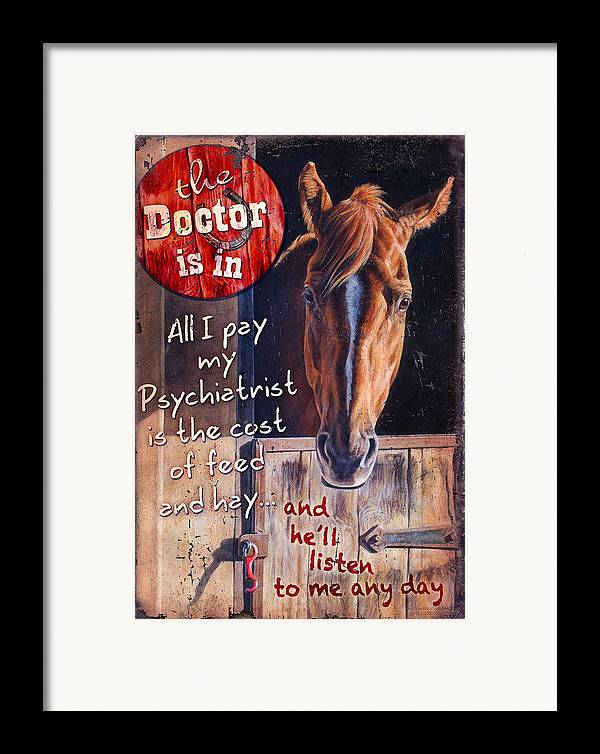 Michelle Grant Framed Print featuring the painting The Doctor Is In by JQ Licensing