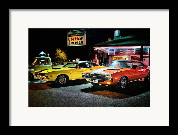 Dodge Challenger Framed Print featuring the photograph The Dodge Boys - Cruise Night At The Sycamore by Thomas Schoeller