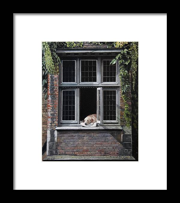 Dog Framed Print featuring the painting The Dog of Bruges by Scot White