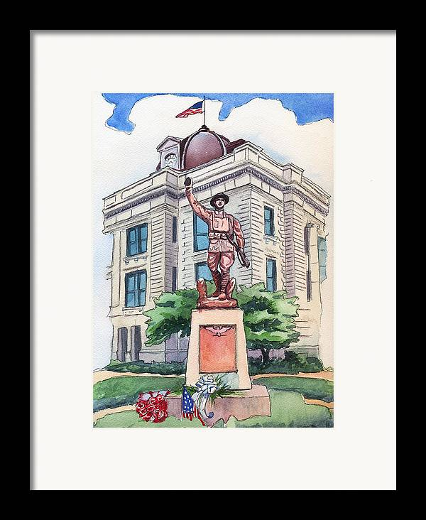 Doughboy Statue Framed Print featuring the painting The Doughboy Statue by Katherine Miller