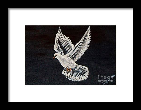Bird Framed Print featuring the painting The Dove by Doreen Karales Zonts