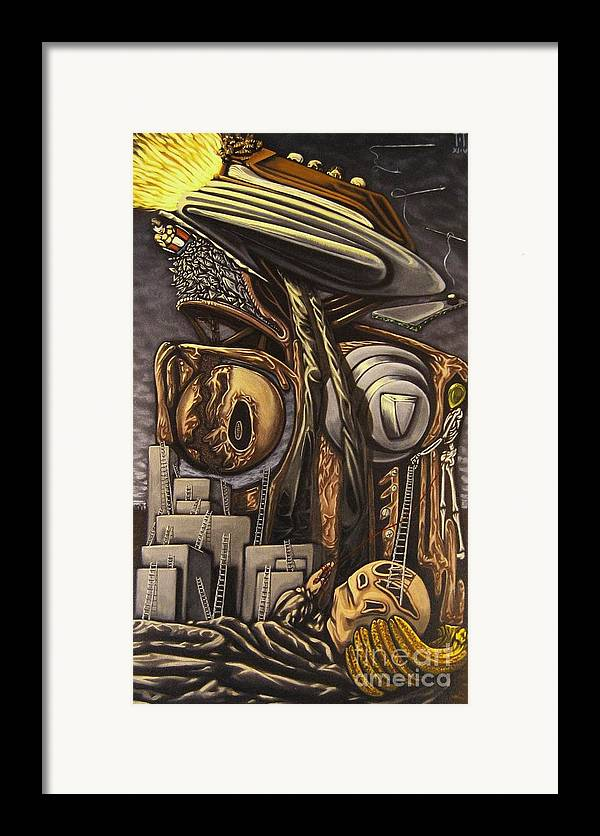 Surreal Framed Print featuring the painting The Dow Itcher by Mack Galixtar