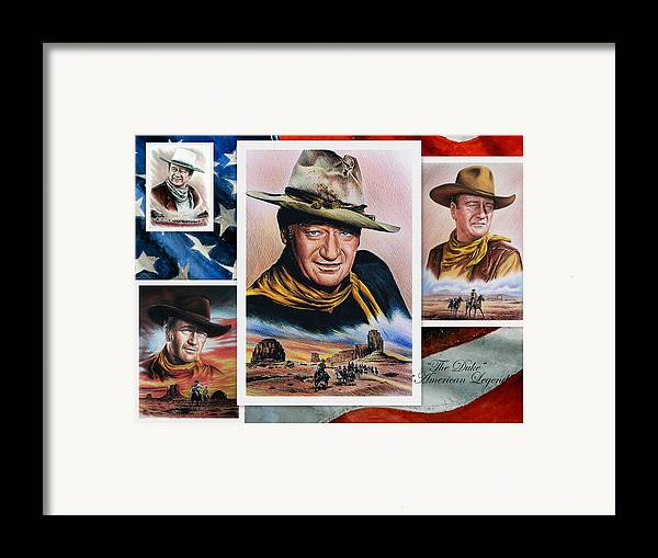 John Wayne Framed Print featuring the painting The Duke American Legend by Andrew Read