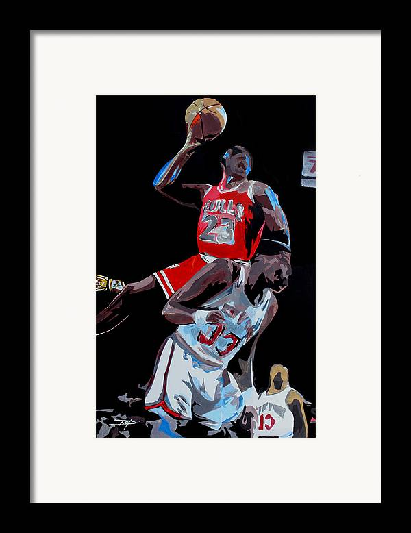 Michael Jordan Framed Print featuring the drawing The Dunk by Don Medina