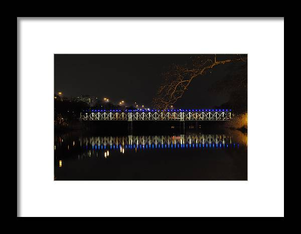 East Framed Print featuring the photograph The East Falls Bridge At Night - Philadelphia by Bill Cannon