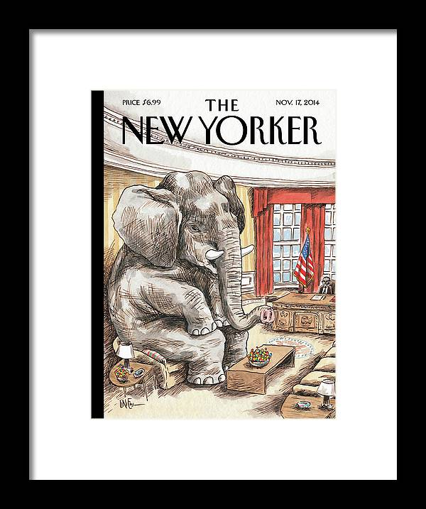 Republican Framed Print featuring the painting The Elephant In The Room by Ricardo Liniers