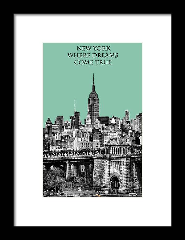 New York Canvas Framed Print featuring the photograph The Empire State Building Pantone Jade by John Farnan