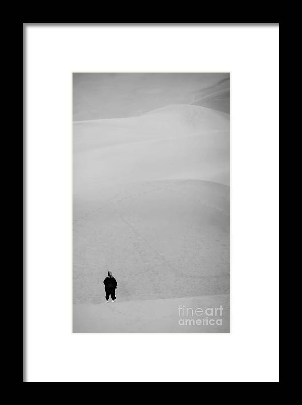 Digital Black And White Photo Framed Print featuring the digital art The Emptiness Bw by Tim Richards