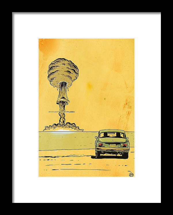 Atomic Bomb Framed Print featuring the drawing The End by Giuseppe Cristiano