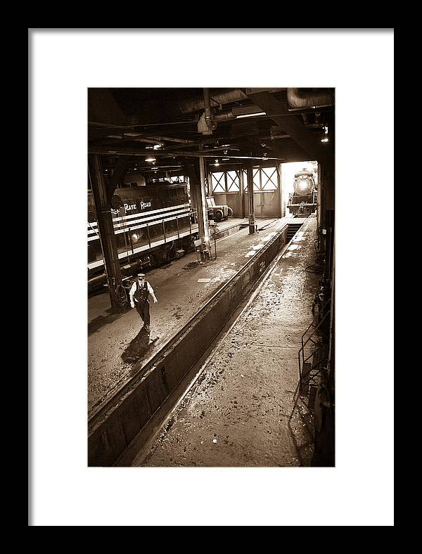 Steam Engine 3254 Framed Print featuring the photograph The Engineer by Robert Klemm