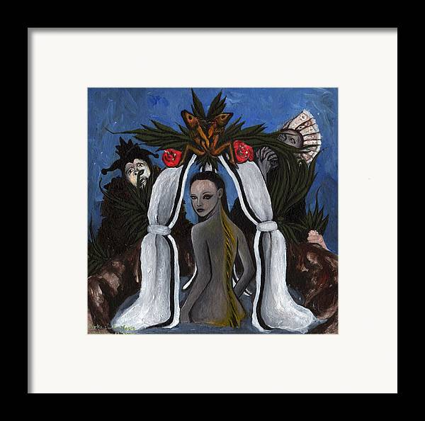 Mermaid Framed Print featuring the painting The Fable Of The Fish by Ayka Yasis
