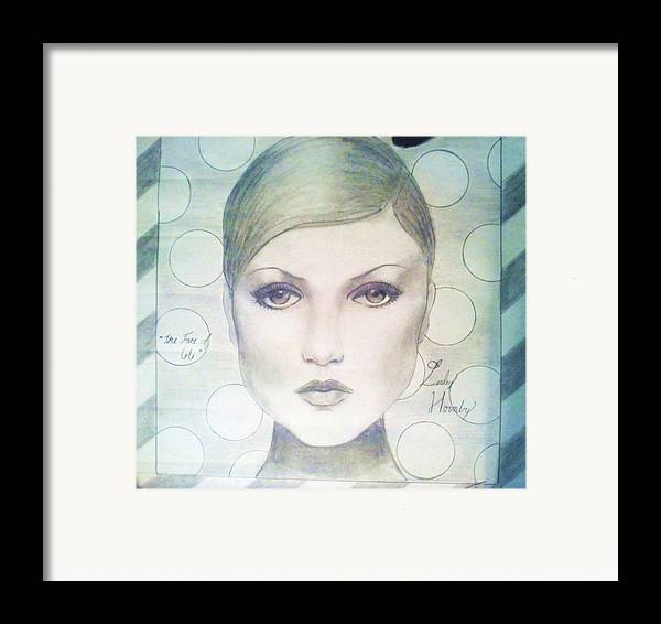 Twiggy Framed Print featuring the drawing The Face Of 66' by Megan Jenkins