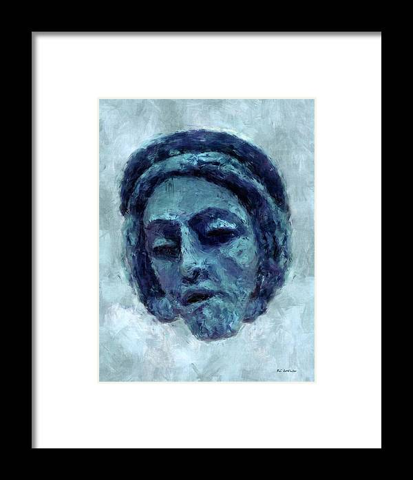 Portrait Framed Print featuring the painting The Face Of Blue by RC DeWinter