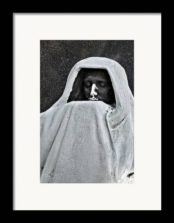 Graveyard Framed Print featuring the photograph The Face Of Death - Graceland Cemetery Chicago by Christine Till
