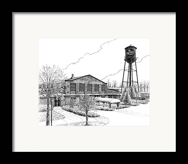 Pen And Ink Drawing Framed Print featuring the drawing The Factory In Franklin Tennessee by Janet King