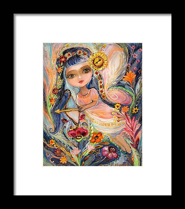 Blue Eyed Girl Framed Print featuring the painting The Fairies Of Zodiac Series - Sagittarius by Elena Kotliarker