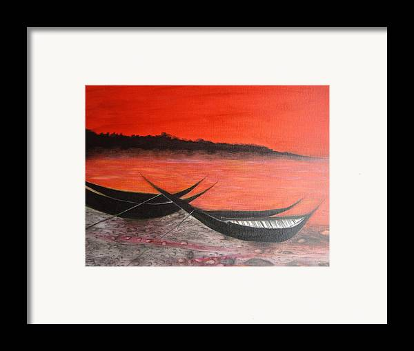 Boats Framed Print featuring the painting The Farewell Songs Part 1 by Prasenjit Dhar