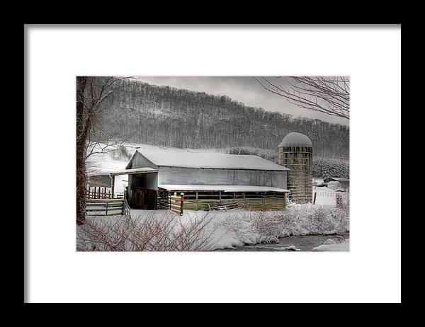 Holidays Framed Print featuring the photograph The Farm By The Creek by Cecile Brion